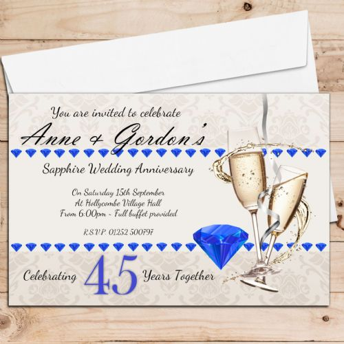 10 Personalised 45th Sapphire Wedding Anniversary Invitations N19